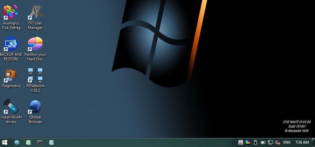 نسخة ويندوز 10 للطوارئ للتشغيل من الفلاشة USB WinPE10 Build 181007